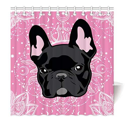 Violetpos Pink Mandala Mond Sonne Bulldogge Duschvorhang aus Stoff wasserdichter Vorhang mit verstärktem Saum 120 x 180 cm