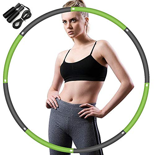 HIPIBEST Weighted Smart Hula Hoop for Adults and Kids Exercising,Hoola Hoop,2 in 1 Abdomen Fitness Weight Loss Massage Hoola Hoops,24 Detachable Knots Adjustable Weight Auto-Spinning Ball