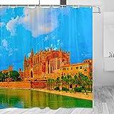 Spain Palma Mallorca Catedral Cortina de Ducha Viaje Decoración de Baño Set Con Ganchos Poliéster 72x72 Pulgadas (YL-05396)