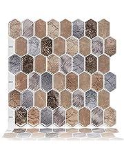"""Cocotik 12""""x12"""" 3D Gel Tile Peel en Stick Backsplash, 10 vellen (bruin)"""