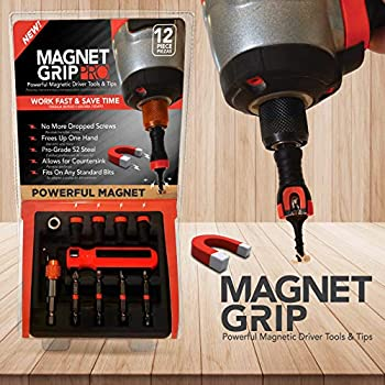 Magnet Grip Pro Magnetic Drill Bit Set   Magnetic Collar Screw holder and Bit holder   Magnetic Screwdriver Bits   Fits ANY Standard Bit   No Wobbling or Falling Screws   Allows Countersink  12 Pieces