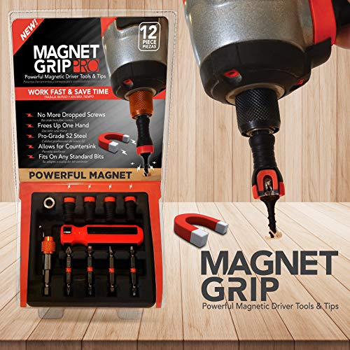 Magnet Grip Pro Magnetic Drill Bit Set | Magnetic Collar Screw holder and Bit holder | Magnetic Screwdriver Bits | Fits ANY Standard Bit | No Wobbling or Falling Screws | Allows Countersink| 12 Pieces