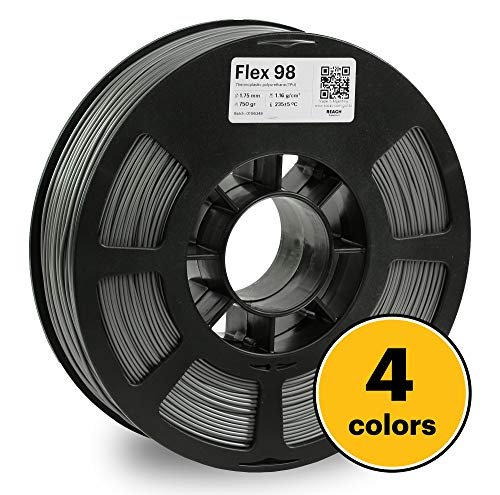 KODAK FLEX 98 Flexible 3D printer filament TPU GRAY +/-0.03 mm, 750g (1.6lbs) Spool, 1.75 mm. Lowest moisture premium 3D printer flex filament in Vacuum Aluminum Ziploc bag. Fit Most FDM Printers