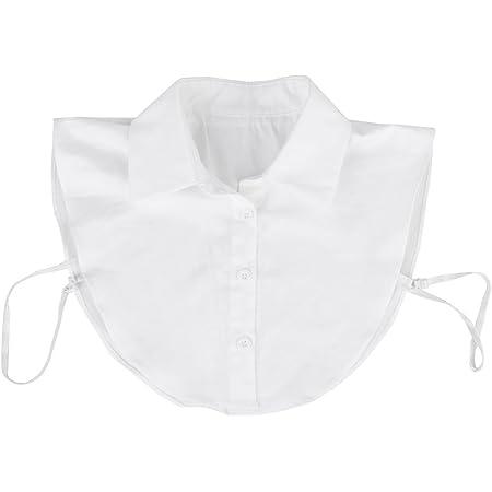 REFURBISHHOUSE Collar blanco de blusa camisa Desmontable Mujer Cuello de media camisa