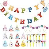 BUYGOO Addobbi Compleanno Festa Decorazione Compleanno Bambini 72PZ, 11 Cappelli Festa Compleanno, 50 Trombette Compleanno Partito, 1 Striscione Happy Birthday Bandiera, 10 Cupcake Topper Torta