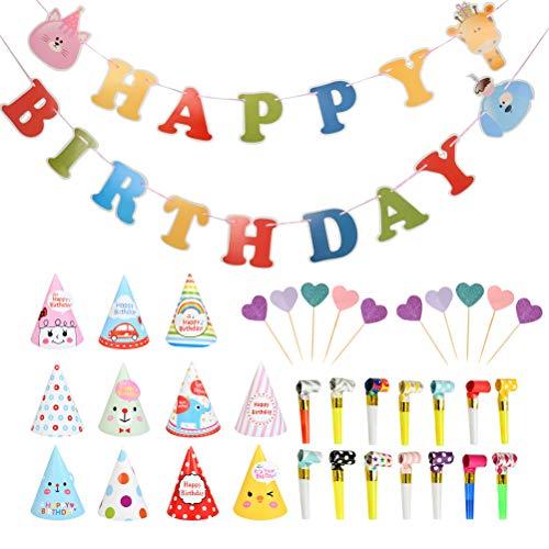 BUYGOO Decoración de Fiesta de Cumpleaños, Banner deHAPPY Birthday + Lindo Gorros de Fiesta + Matasuegras Infantiles + Insertos de Pastel, Divertida Fiesta de cumpleaños del Partido