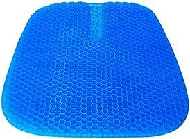 SUPTEMPO ゲルクッション 大きいサイズ 43×42×2.5cm 卵割れないクッション 無重力クッション 二重ハニカム構造 カバー2枚付 尾椎保護デザイン 通気性抜群 体圧分散 姿勢矯正 腰痛 坐骨神経痛対策 オフィス 車 椅子用 座布団