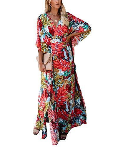 Bsubseach Women Sexy Half Sleeve Long Beach Caftan Dress V Neck Side Spilt Swimsuit Cover Up Swimwear