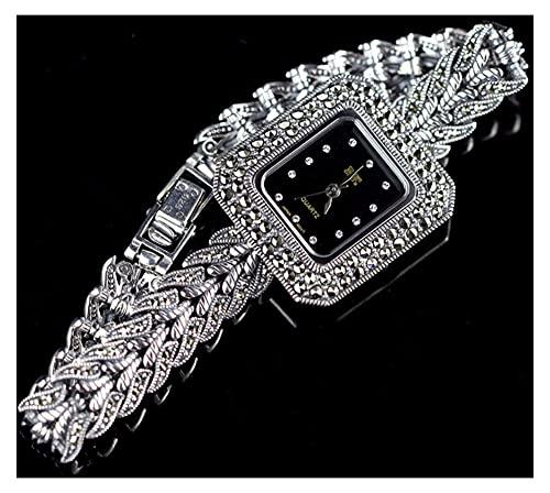 CHXISHOP Reloj de pulsera de cuarzo con incrustaciones de diamante cuadrado reloj de moda retro reloj clásico reloj brazalete de las mujeres negro - 19cm