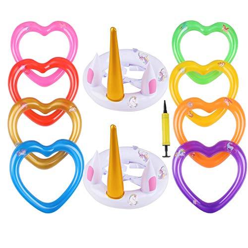 Nadmuchiwany jednorożec gra z pierścieniami zabawa dekoracja wewnątrz na zewnątrz prezenty dla dzieci basen ogród gry rzucanie zabawki gra rzucanie do wewnątrz na imprezę dla dzieci urodziny ślub rozrywka 11 sztuk