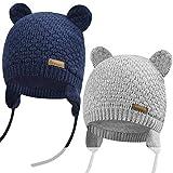 Yuson Girl Baby Mütze Mädchen & Jungen wintermütze Baby Beanie Strickmütze Cap Kinder Cute Bear Hut,W-Marine+Grau(S)