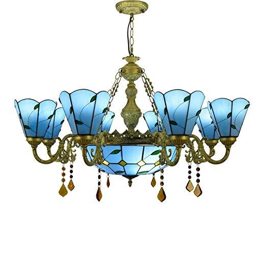 Chandelier 8 cabezas araña tiffany gran mediterráneo mar azul verde hojas estilo colorido cristal cristal lámpara colgante para el lobby sala de estar restaurante barra lámpara Las pantallas hechas a