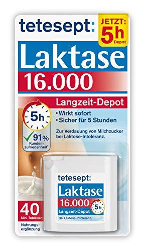 tetesept Laktase 16.000 Langzeit-Depot – Mit 5 Stunden Langzeit-Depot - kontinuierlicher Laktoseabbau in Magen & Darm - wirkt sofort – 1 Dose à 40 Stück (Nahrungsergänzungsmittel)