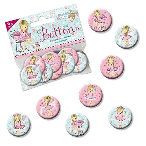 Mauder Verlag 8 Mini Button * Ballett * mit Anstecknadel vom Lutz 67248 // Kinder Geburtstag Mitgebsel Geschenk Party Buttons Set