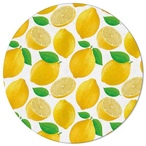 Round Area Rugs Lemon Summer Non-Slip Home Decor Fresh Fruit Indoor Children Playroom Kitchen Bedroom Living Floor Mats 3.3ft(39in)