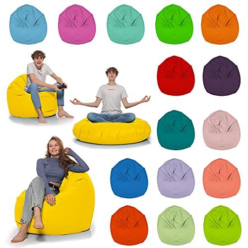HomeIdeal - Sitzsack 2-in-1 Funktionen Bodenkissen für Erwachsene & Kinder - Gaming oder Entspannen - Indoor & Outdoor da er Wasserfest ist - mit EPS Perlen, Farbe:Gelb, Größe:110 cm Durchmesser