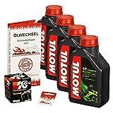 Motul 10W-40 Öl + K&N Ölfilter für Yamaha YZF-R1 /SP, 02-06, RN09 RN12 - Ölwechselset inkl. Motoröl, Filter, Dichtring