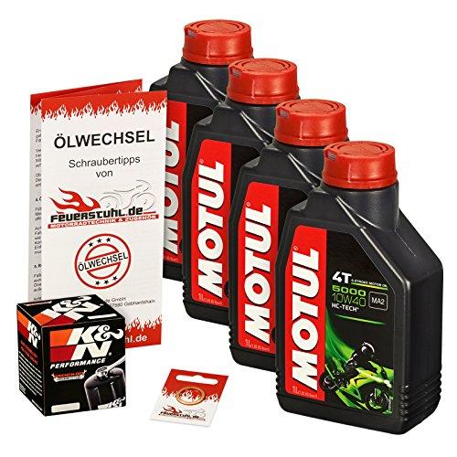 Motul 10W-40 Öl + K&N Ölfilter für Yamaha YZF-R1 /WGP, 07-14, RN19 RN22 - Ölwechselset inkl. Motoröl, Filter, Dichtring