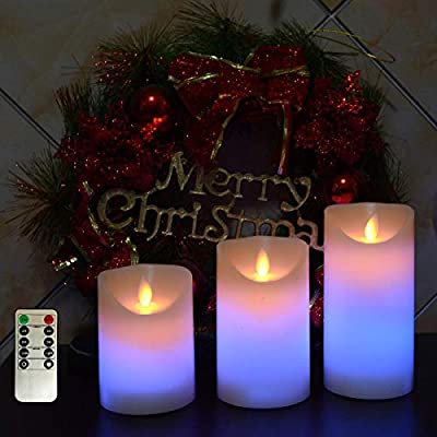 "kingleder Battery Operated Pillar Candles,Color Changing Realistic Flickering LED Candle for Christmas Decorations, Fireplace Decor,Wall Sconces,Fireplace Decoration(4"" 5"" 6"" Set Remote/Timer)"
