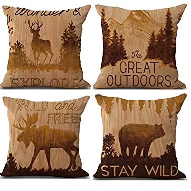 Famulei 4 Packs Retro Elk Beautiful Deer Wild Animals Pattern Modern Cushion Cover Pillow Covers 18X18 Inch Cotton Linen Throw Pillow Case Square Pillowslip for Home Bed Sofa Couch Decor