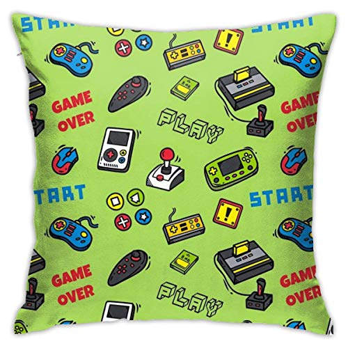 wteqofy Throw Pillow Covers Modern Decorative Throw Pillow Case Video Game and Game Handle Pattern Pillow Covers Cushion Case for Room Bedroom Room Sofa Chair Car,18 X 18 Inch