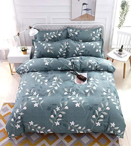 Jiaosa Ropa de Cama, Fundas nórdicas, Fundas de Almohadas y sábanas.Diseño de patrón Floral Verde Cepillado Juego de 4 Piezas (3 Piezas) Ropa de cama-150 * 200 cm-2-verde