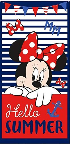 Various Toalla de Playa Infantil con Licencia Oficial Disney (Minnie Mouse)
