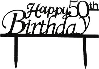 Happy 50th Birthday Cake Topper, Black Acrylic Cake Topper, 50th Birthday Party Decorations