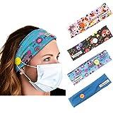 Yean Haarband Yoga Elastische Haarbänder Sport Headwraps mit Knopf für Maskenhalter (4 Stück)