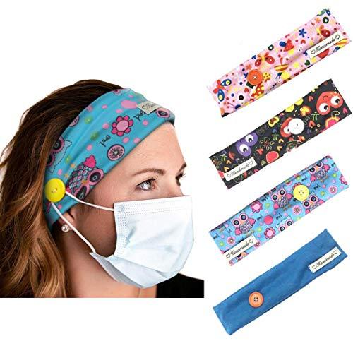 Yean Lot de 4 bandeaux de yoga élastiques avec bouton pour support de masque