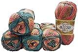 Alize Pelote de laine Diva Batik 5 x 100 g Multicolore avec dégradé de couleurs, 500 g de laine en microfibre, acrylique