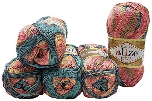 Alize Diva Batik 7399 - Ovillo de lana (5 ovillos de 100 g, 500 g), multicolor