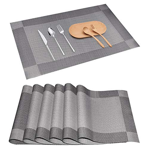 CCDobbs Table Runner Placemats Set Resistant Washable Table Mats Non-Slip Coffee Mats, Woven Vinyl Kitchen Table mats for Dining Table Placemats(6pcs placemats, Silvery Grey)