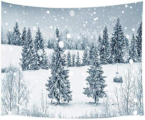 AdoDecor Tapiz Bosque de Invierno Navidad Bosque de Nieve de Invierno con abetos y Copos de Nieve Tapiz 150x130cm/59 * 51 Pulgadas