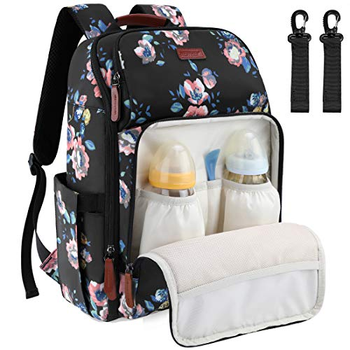 Baby Changing Bag Diaper Nappy Rucksack Backpack with with Insulated Pockets Multi-Function Water Resistant Travel for Mom and Dad Floral Print