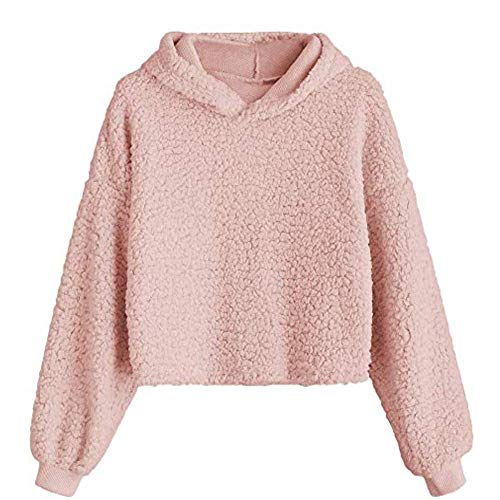 ZAFUL Women's Sherpa Pullover Hooded Cropped Drop Shoulder Fluffy Hoodie Teddy Coat Pink