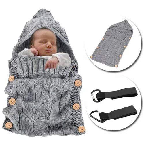 MikeCFMm - Saco de Dormir Unisex para Bebés Recién Nacidos, Ligero, Cálido, de Punto de Ganchillo, para Bebés, Manta para Bebé, Saco de Dormir, Carrito de Bebé, Color Gris (0 - 12 meses)