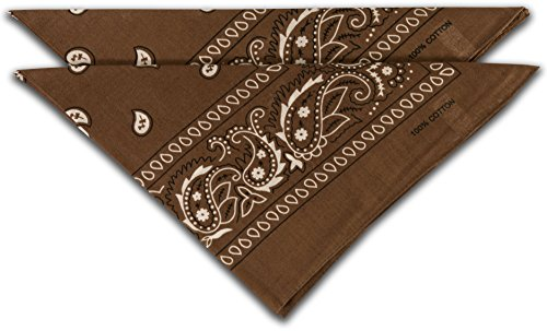 FashionCHIMP fashionchimp ® Nicki-Halstuch aus 100% Baumwolle im 2er Set, Unisex Bandana, AZO-Frei (Braun)