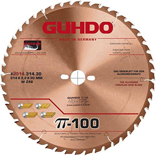 Guhdo – G Manteau HW Lame de Scie Circulaire 303 x 3,2 Alésage 314 mm/Z96 TF/Fabriqué en Allemagne