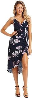 Yi shang Women's Wrap V Neck Spaghetti Strap Floral Print Split Beach Casual Dress