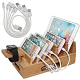Bamboo Charging Station Organizer for Multiple Devices...