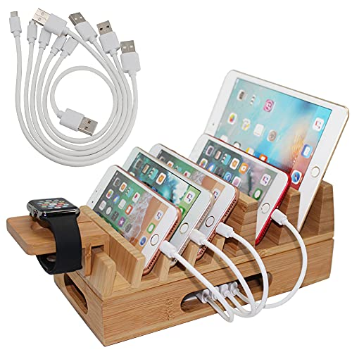 Pezin & Hulin Bamboo Charging Station Holder, Wood Docking Stand Organizer for Multiple Devices, Phones, Tablets, Laptop, with Bonus Stand...