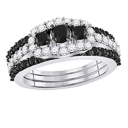 Dazzlingrock Collection - Juego de anillos de boda de 2 quilates, diseño redondo de diamante negro de 3 piedras (2 quilates, oro blanco de 10 quilates)