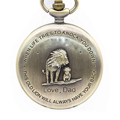 YUTRD ZCJUX Reloj de Bolsillo de Cuarzo con diseño de patrón de león de diseño de Bronce Antiguo con Cadena de Collar, niños