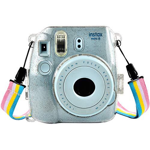 SAIKA Instax Mini 9 Housse pour Fujifilm Instax Mini 9/8/8 + Appareil Photo Instantané - Sac de Caméra en Cristal Voyage Caméra Cover Case Sac avec bandoulière Amovible - Shinning Clear
