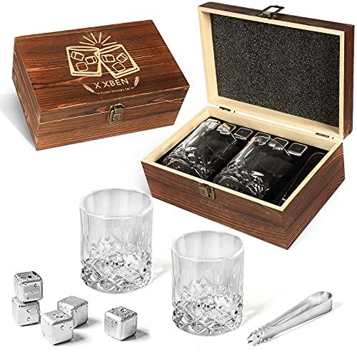 X XBEN Whisky Steine Geschenkset 2 Stück 300ml Whisky Gläser Mit 6 Edelstahl Whisky Eiswürfel Wiederverwendbar und Zange,Besondere Geschenke für Männer/Vatertag,Benutzt in Whiskey,Wodka,Wein & Mehr