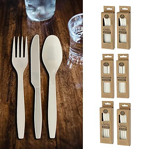 Set di posate da 60 pezzi, in plastica biologica, 20 coltelli, forchette, cucchiai, posate da pasta, compostabili, biodegradabili