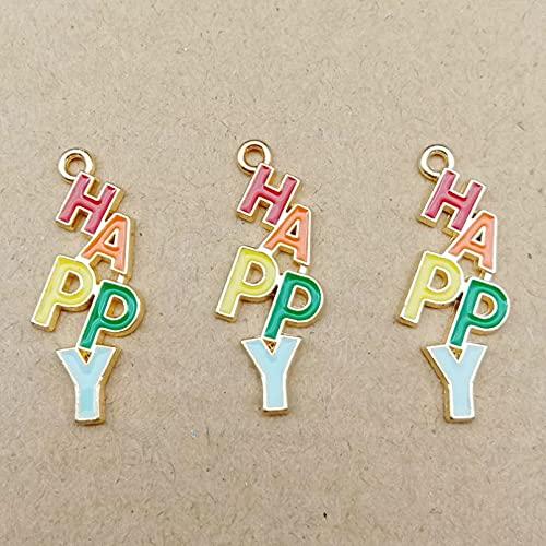 LLBBSS 10 Piezas 11 × 29 Mm Metal Dorado DIY Esmalte Color Letra Palabra Encantos Felices para Pulsera/Pendiente/Collar Que Hace Colgantes