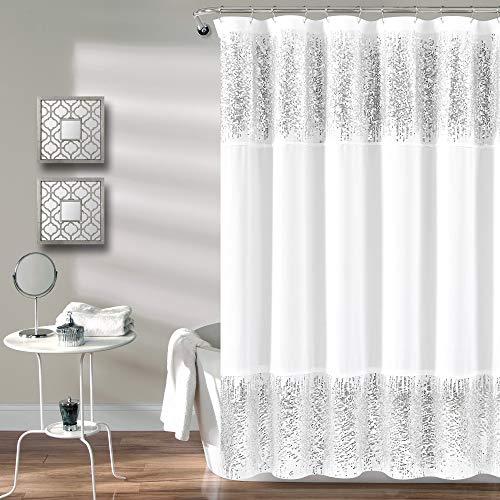 Lush Decor, Duschvorhang mit silberfarbenen Pailletten, schickes glitzerndes Design für Badezimmer, 178 x 183 cm, Weiß, 177,8 x 182,9 cm