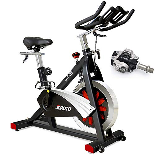 JOROTO X2 Exercise Bike with SPD Pedals Magnetic Resistance Belt Drive Indoor Cycling Spin Bikes Stationary